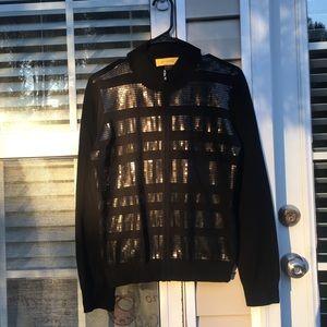 St John black zip down cardigan